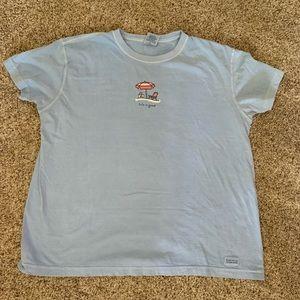 Life Is Good Beach Umbrella Blue Crusher T-shirt